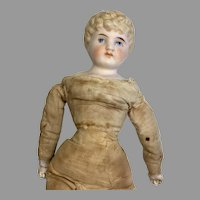 Antique Molded Hair German Bisque Closed Mouth Doll