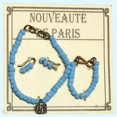 Fashion Doll Necklace Bracelet Earrings Miniature Jewelry Set on French Card Paris