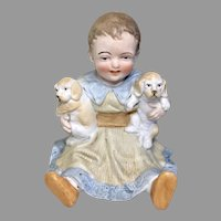 Too Cute German All Bisque 2 Puppy Dog Antique Piano Baby Doll Figure