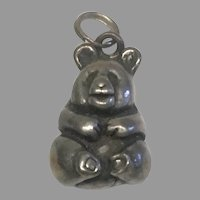 Adorable Tiny Sterling Silver Teddy Bear Pendant Charm Doll