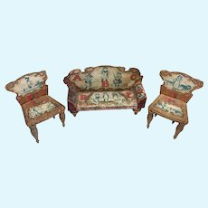 3 Antique Papered Wood Bliss ABC Miniature Dollhouse Doll Sofa Settee Chair
