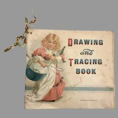 1898 Drawing Tracing Book Child Doll Size Antique Accessory