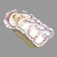 Antique All Bisque Box Swaddled Baby Doll in Basket