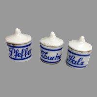 Miniature 3 Piece German Porcelain Canister Set Dollhouse Doll Salz Pfeffer Zucker