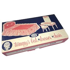 Vintage Ideal Tammy Doll Bed Dresser Chair Original Box Unused
