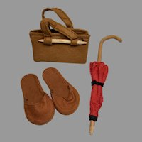 3 Piece German Doll Satchel Purse Slipper Shoes Faux Umbrella Accessories