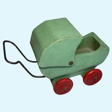 Cute Miniature Wood Dollhouse Doll Vintage Baby Carriage