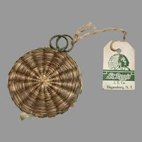 Vintage Tagged Native American Indian Needle Pin Holder Sewing Case Woven Grass