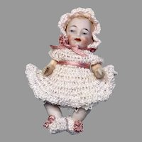 Cute German All Bisque Baby Doll Crochet Outfit Dress Bonnet Booties