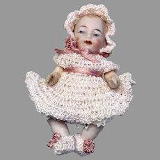 Cute German All Bisque Baby Doll Crochet Outfit Dress Bonnet Booties