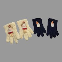 2 Pair Darling Vintage Knit Doll Gloves