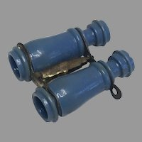 Blue French Miniature Doll Stanhope Vintage Binoculars France FF