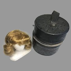 Vintage Fashion Doll Wig on Head Form Stand in Carrying Case