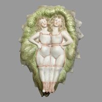 Naughty All Bisque Bathing Beauty Doll Pair Leaf Dish