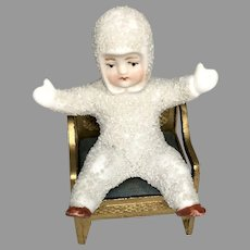 Cute All Bisque German Snow Baby Doll