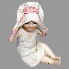 All Bisque German Molded Bonnet Head Miniature Doll