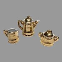 Vintage Miniature Doll Dollhouse Porcelain Bisque Tea Set Teapot Creamer Sugar