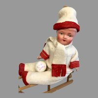 Cute Vintage German Candy Container Papier Mache Doll on Sled