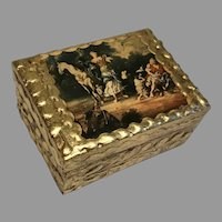 Small Vintage Wood Florentine Box for Doll Accessories
