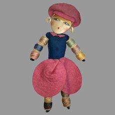 Fab! Flapper Silk Face Boudoir Style Antique Sewing Doll Pin Cushion Needle Thread Holder