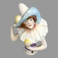 Cute German Pierrot Clown Half Pin Cushion Doll