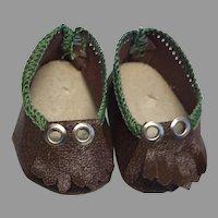 Nice Vintage Doll Shoes Brown Green Fringe