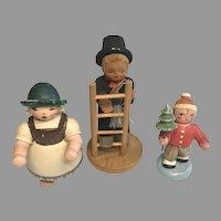 3 Vintage Miniature Wood Doll Figure German Erzgebirge