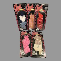 """5 Vintage Never Removed Package 18"""" Fashion Doll Clothes Outfits Candi Doll Mego"""