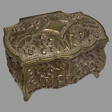 Ornate Vintage Miniature Metal Doll Jewelry Casket Trinket Box French Fleur-de-lis