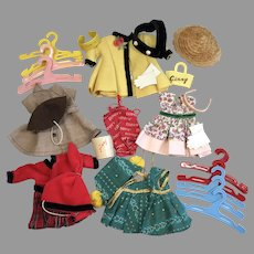 Large Group Vintage Ginny Doll Vogue Dress Hat Gloves Headband Hangars Purse