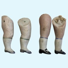 2 Pair Antique All Bisque German Doll Legs Parts