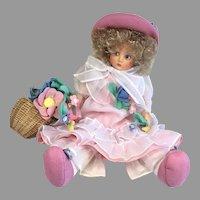 Beautiful Vintage 1986 UFDC Anili Felt Cloth Doll Italian Artist Lenci Type with Box