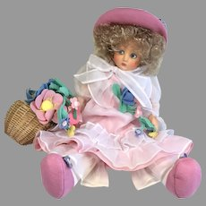 Beautiful Vintage 1986 UFDC Anili Felt Cloth Doll Italian Artist Lenci Type with Box