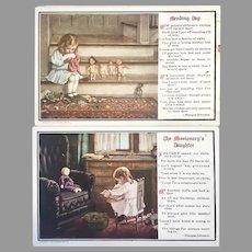 2 Antique Doll Postcard 1908 Cute Miniature Prints