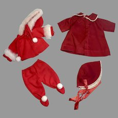 2 Vintage Doll Outfits for Small Dolls Coat Bonnet Winter Set