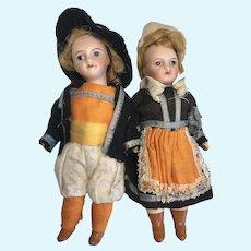 2 French Bisque Head Doll Couple Original Clothes Costumes Unis 301 Paris Pair