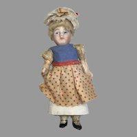 "Tiny 5"" German Bisque Head Dollhouse Doll Maid"
