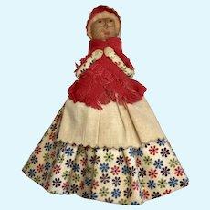 Vintage Folk Art Doll Print Skirt Wood Clothespin