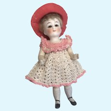 """German 5"""" All Bisque Doll Sleep Eyes Closed Mouth Crochet Dress"""