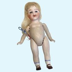 Antique Kestner All Bisque Smiling Dollhouse Size Doll