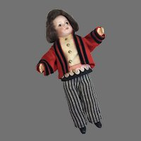 French Bisque SFBJ Paris Boy Doll Original Tagged Made in France Clothes