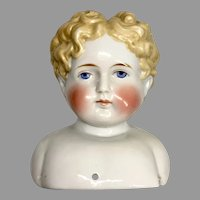 Large High Brow Exposed Ears Blonde Curly Hair Antique China Doll Head