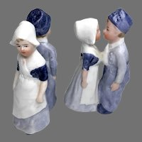 2 Pair German All Bisque Doll Couple Kissing Miniature Dollhouse Size Figures