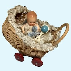 """Tiny German Wicker Doll Carriage Wood Wheels 2"""" All Bisque Miniature Dollhouse Baby Boy Rattle"""