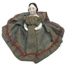"""Tiny 2"""" Covered Wagon Early China Frozen Charlotte Antique Doll"""