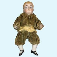 Antique German All Bisque Boy Bent Legs Velvet Short Jacket
