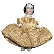 """Tiny 1.5"""" High Brow China Antique Frozen Charlotte Doll"""
