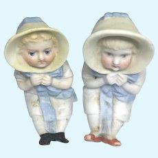 2 Antique German All Bisque Miniature Dollhouse Doll Size Bonnet Baby
