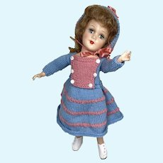 """Lovely Hard Plastic Mary Hoyer 14"""" Vintage Doll Knit Outfit"""