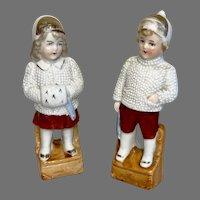 2 German Bisque Antique Boy Girl Doll Figures Winter Clothes